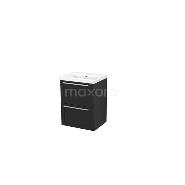 Badkamermeubel 50cm Modulo+ Slim Carbon 2 Lades Kader Wastafel Keramiek BMS000014