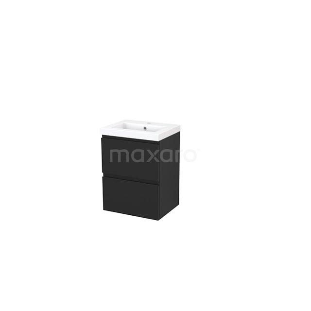 Badkamermeubel 50cm Modulo+ Slim Carbon 2 Lades Greeploos Wastafel Mineraalmarmer BMS000015