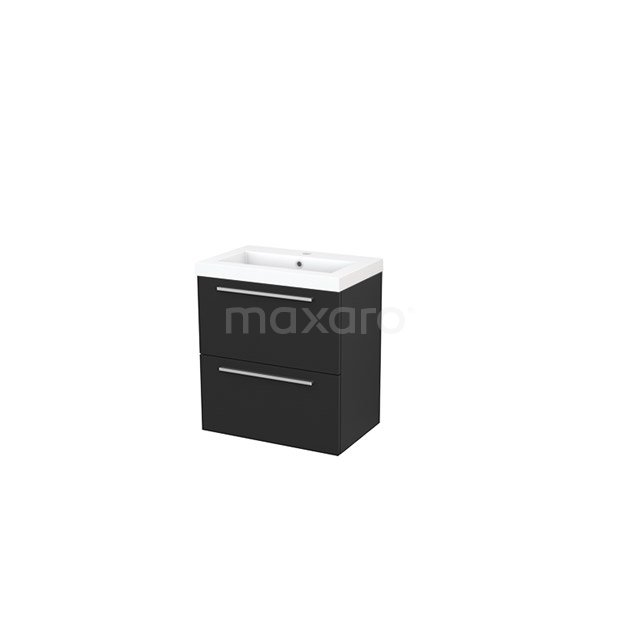 Badkamermeubel 60cm Modulo+ Slim Carbon 2 Lades Vlak Wastafel Mineraalmarmer BMS000041
