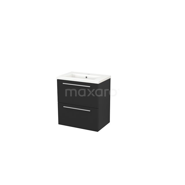 Badkamermeubel 60cm Modulo+ Slim Carbon 2 Lades Vlak Wastafel Keramiek BMS000043