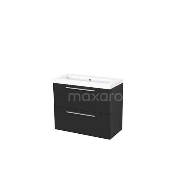 Badkamermeubel 80cm Modulo+ Slim Carbon 2 Lades Vlak Wastafel Mineraalmarmer BMS000083