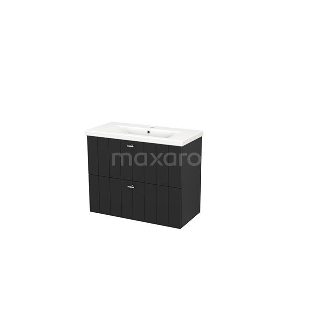 Badkamermeubel 80cm Modulo+ Slim Carbon 2 Lades Lamel Wastafel Keramiek BMS000087
