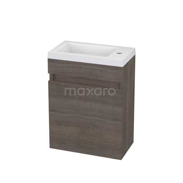 Toiletmeubel met Wastafel Mineraalmarmer Curve Grijs Eiken 40cm BMT006113