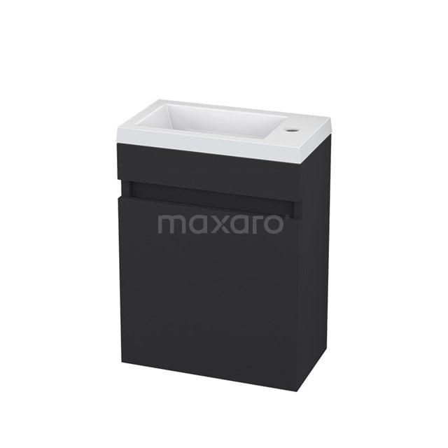 Toiletmeubel met Wastafel Mineraalmarmer Curve Mat Zwart 40cm BMT006116