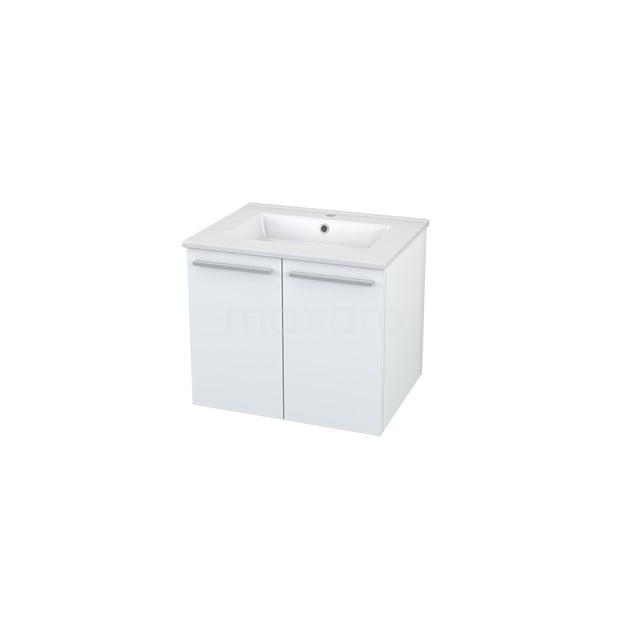 Badkamermeubel 60cm Box Wit 2 Deuren Vlak Wastafel Keramiek BMA005501