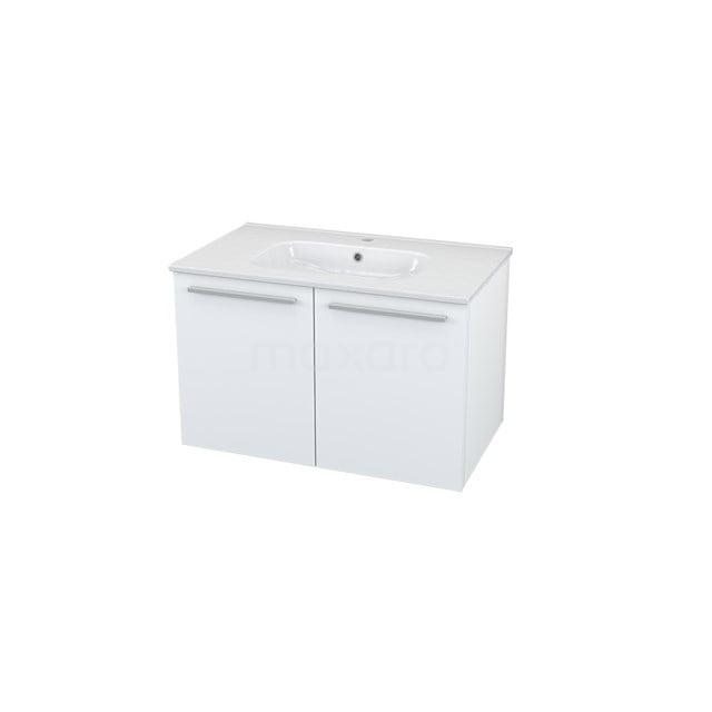 Badkamermeubel 80cm Box Wit 2 Deuren Vlak Wastafel Keramiek BMA005507