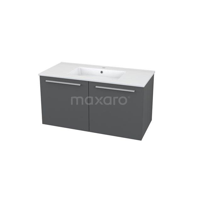 Badkamermeubel 100cm Box Grijs 2 Deuren Vlak Wastafel Keramiek BMA005510