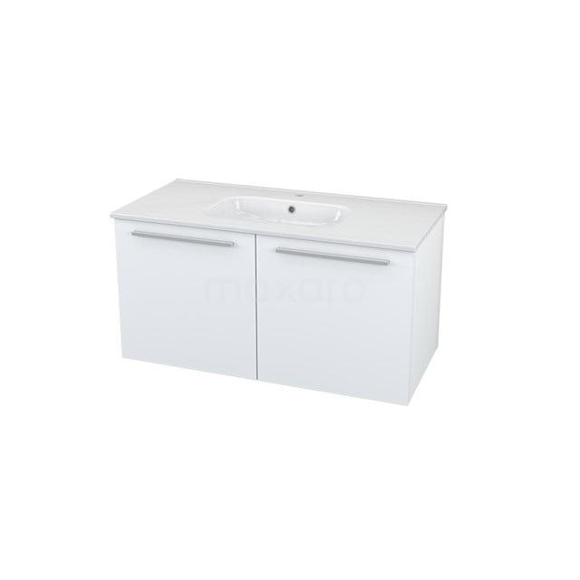 Badkamermeubel 100cm Box Wit 2 Deuren Vlak Wastafel Keramiek BMA005511