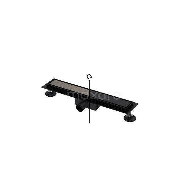 Douchegoot Zwart met Flens 50cm Tile & Plate Black Rooster DFG02-0500MB