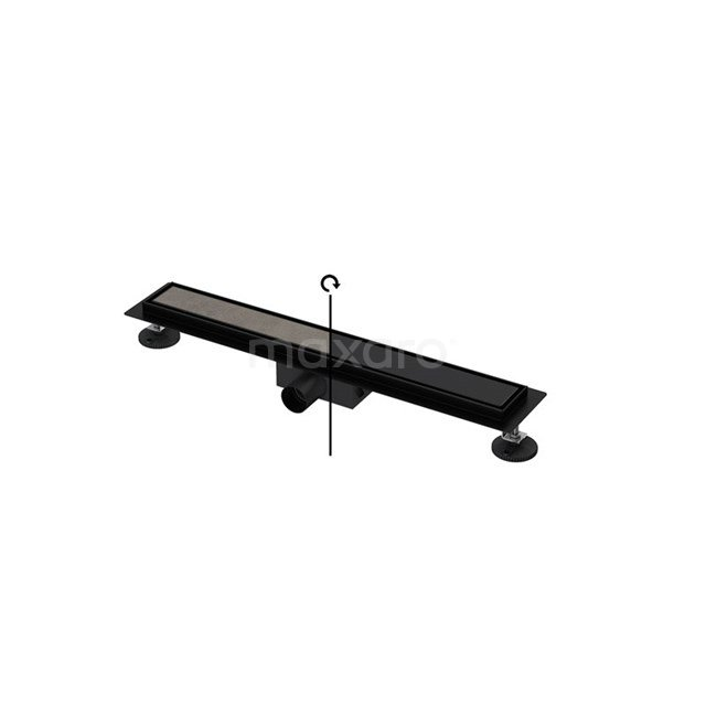 Douchegoot Zwart met Flens 60cm Tile & Plate Black Rooster DFG02-0600MB