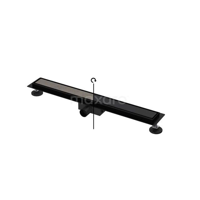 Douchegoot Zwart met Flens 70cm Tile & Plate Black Rooster DFG02-0700MB