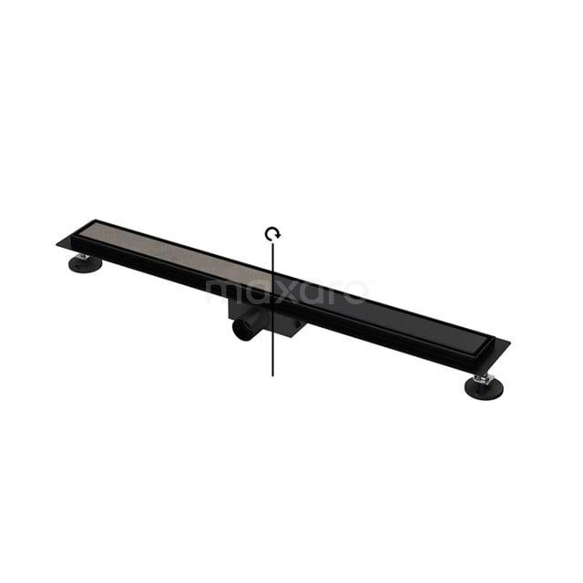 Douchegoot Zwart met Flens 80cm Tile & Plate Black Rooster DFG02-0800MB