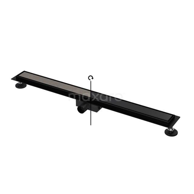 Douchegoot Zwart met Flens 90cm Tile & Plate Black Rooster DFG02-0900MB