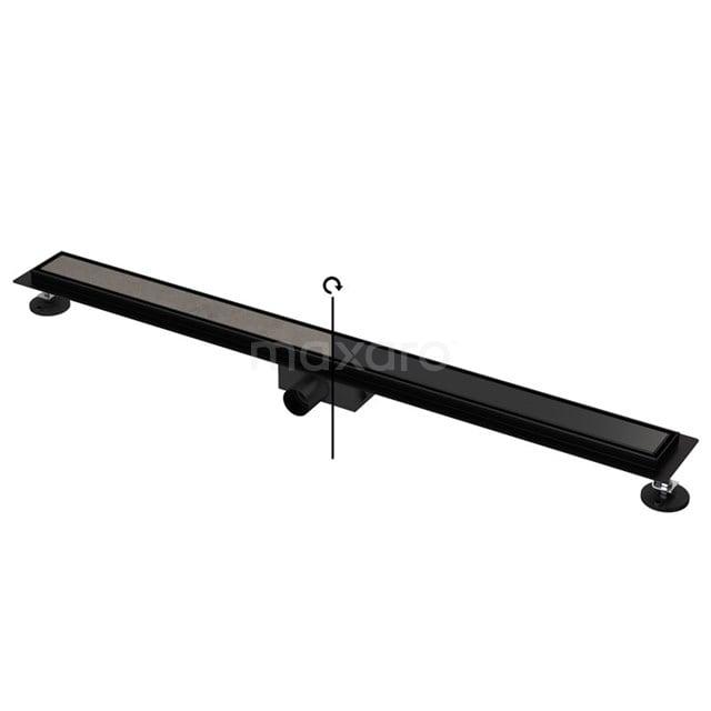 Douchegoot Zwart met Flens 100cm Tile & Plate Black Rooster DFG02-1000MB