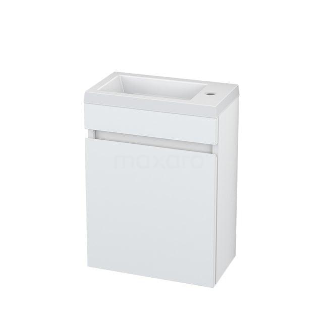 Toiletmeubel met Wastafel Mineraalmarmer Curve Hoogglans Wit 40cm BMT000196