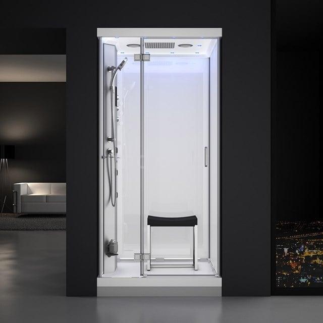Stoomcabine Lusso 100x100cm Wit Watermassage LED Bluetooth SHA1010111