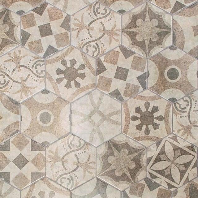 Decortegel Tasos 1920 Grey 20x23cm Portugees Multicolor Hexagon 302-010102