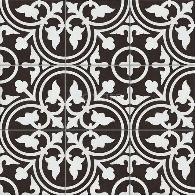 Vloertegel/Wandtegel Memory Classic Black 20x20cm Portugees Multicolor 402-010104